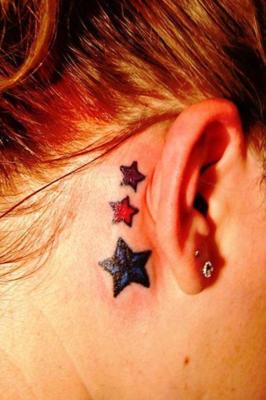 Behind the ear star tattoos