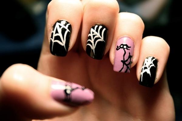 Pink Webs Nail Art