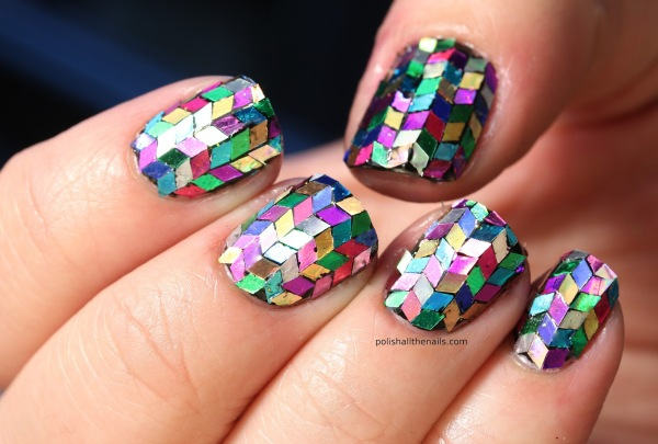 Rainbow Glitter Herringbone Nails
