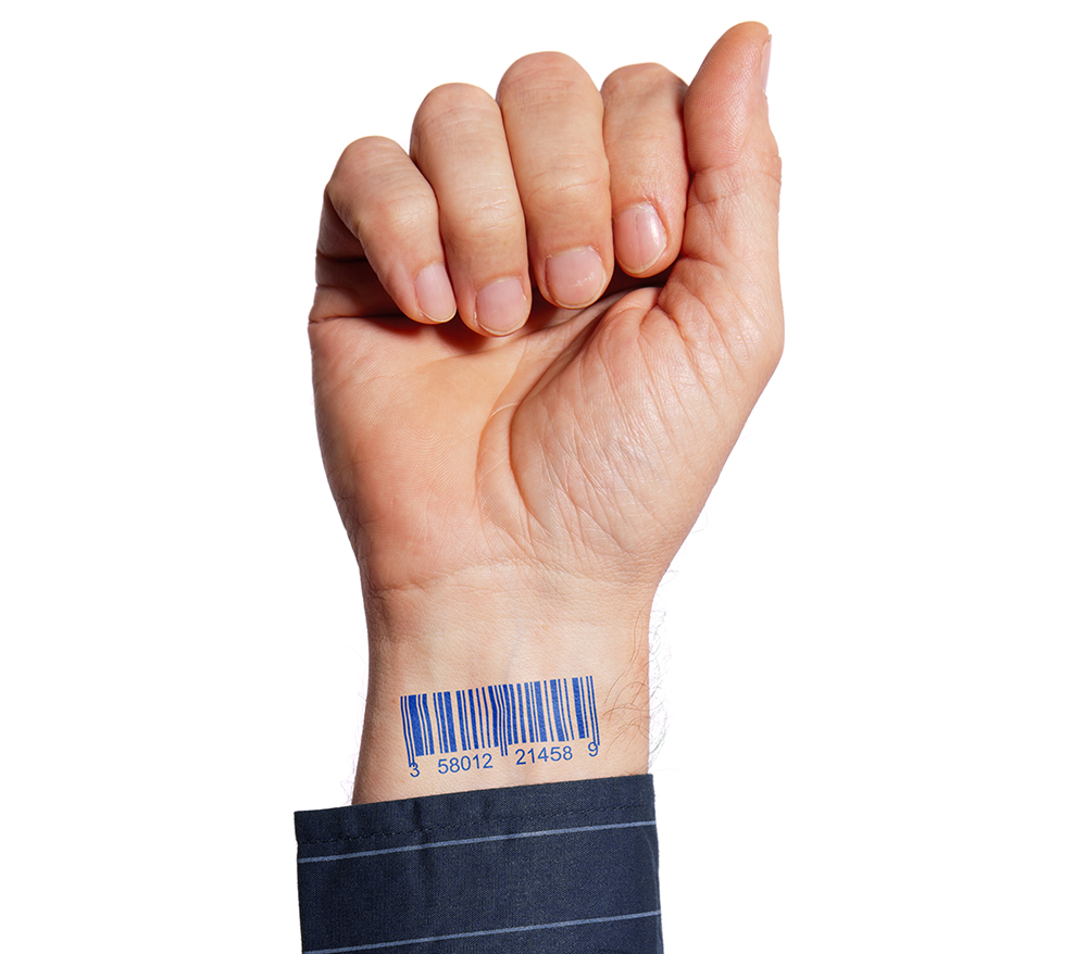 Barcode on human hand