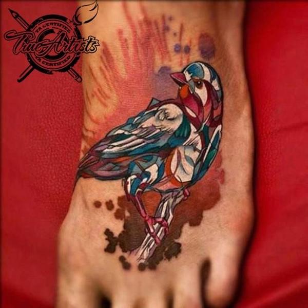 Multi-Color Dove Tattoo