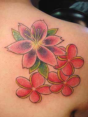 Red flower tattoo