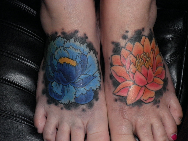 Flower Tattoo on Feet