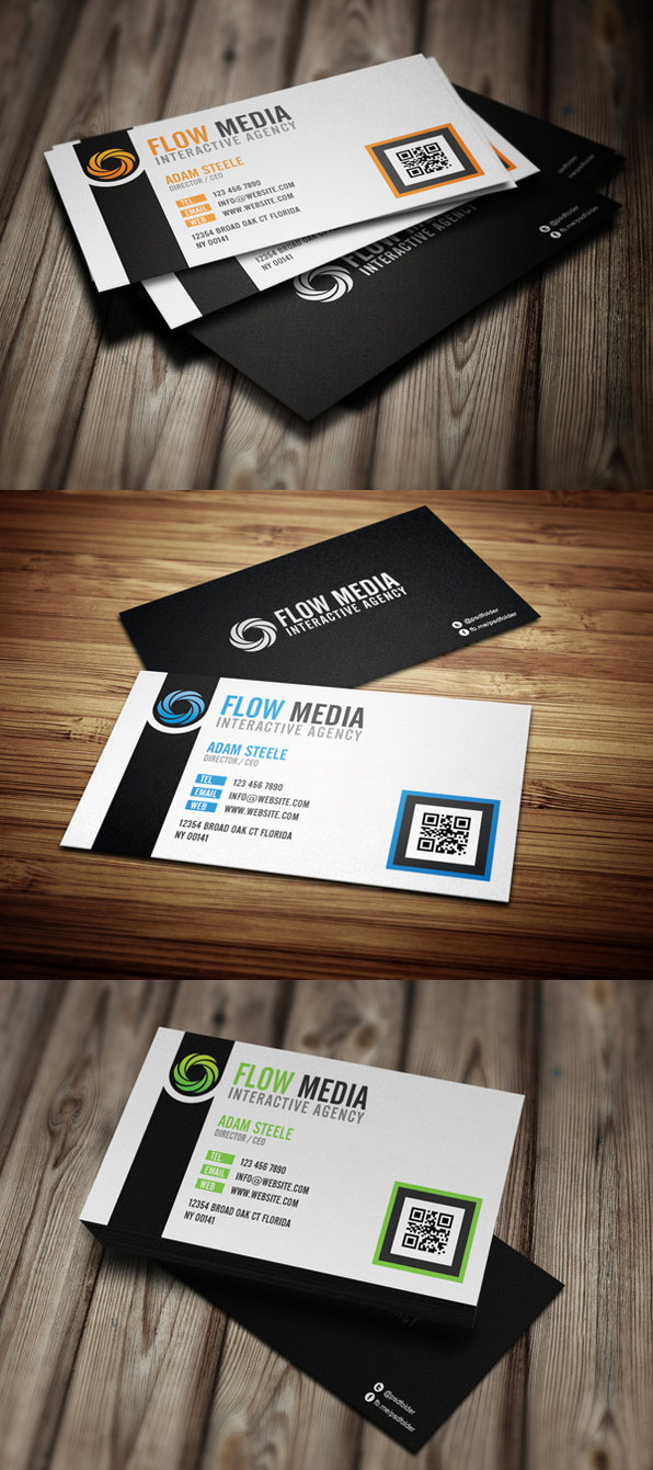 Flow Business Cards in 3 Colors