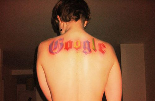 Google tattoo on back