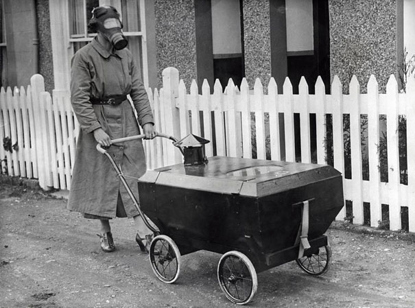 Woman with a Gas Resistant Pram, England, 1938