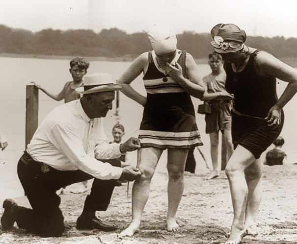 Measuring bathing suits – if they were too short, women would be fined, 1920?s