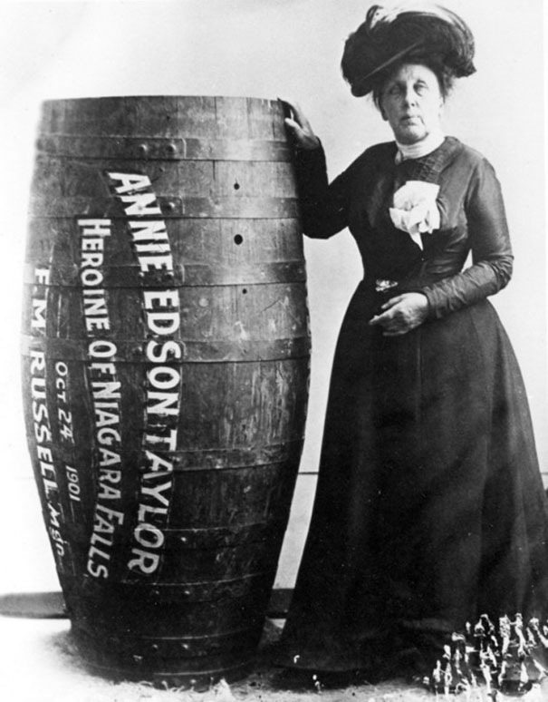 Annie Edison Taylor, the first person to survive going over Niagara Falls in a barrel, 1901